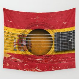 Old Vintage Acoustic Guitar with Spanish Flag Wall Tapestry