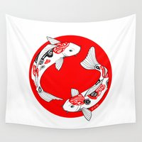 japanese Wall Tapestries featuring Japanese Kois by Art & Be