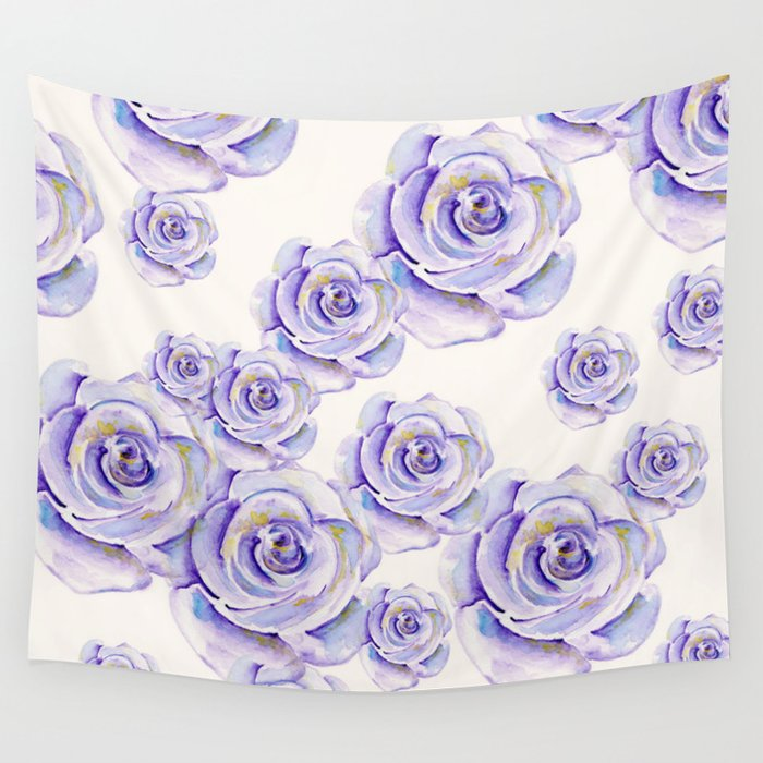 Puple Rose Painting Wall Tapestry