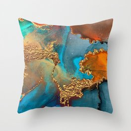 Abstract Blue And Gold Autumn Marble Throw Pillow
