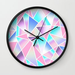 Girly Gradient Geometric Triangles in Pink Teal Wall Clock