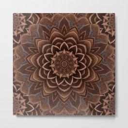 Coffee Shimmer Mandala Metal Print