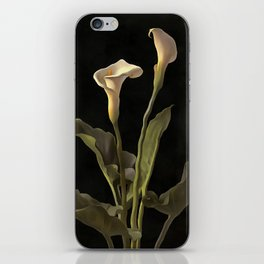 White Calla Lilies On A Black Background iPhone Skin