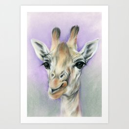 Giraffe Portrait with Beautiful Eyes Art Print