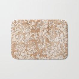 Vintage white brown grunge shabby floral Bath Mat