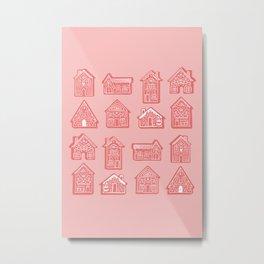 Tiny Houses - Coral Metal Print