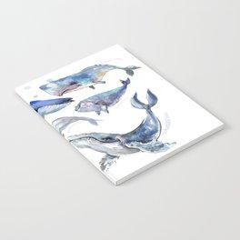 Whales, Whale design, whale wall art, sea, marine aquatic animal art, school learning wall Notebook