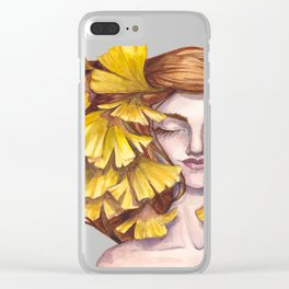 Unfold Watercolor Ginkgo Leaf Illustration Clear iPhone Case