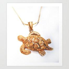 Golden Turtle Necklace  Art Print