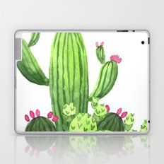 Green Cacti with Pink Flowers Laptop & iPad Skin