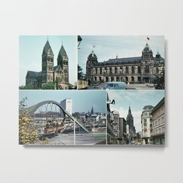 Vintage Wuppertal Photo Collage Metal Print