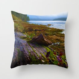Ucluelet Inlet on an early fall morning Throw Pillow