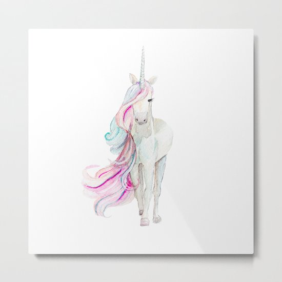 Watercolor Unicorn Metal Print