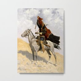 "Frederic Remington Western Art ""The Blanket Signal"" Metal Print"