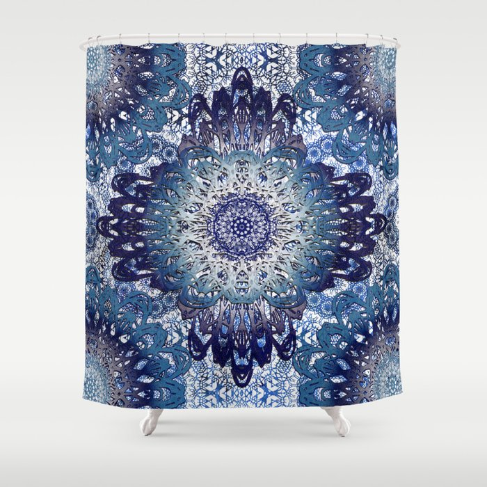 Indigo Lace Mandalas Shower Curtain