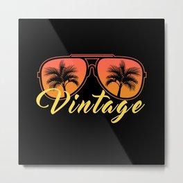 Vintage 80s Beach Good Vibes Sunglasses Metal Print