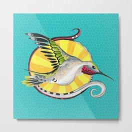 Hummingbird Sun Teal Ink Art Metal Print