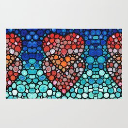 Two Hearts - Mosaic Art By Sharon Cummings Rug