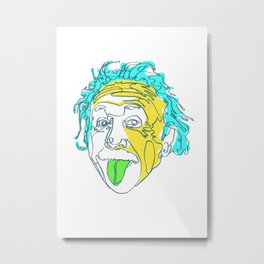 Einstein Line Art | Painting | Print | Poster | Albert Einstein Tongue Out Cartoon Metal Print