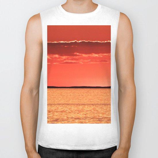 Orange Sky and Sea Biker Tank