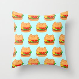 Cat Food - Hamburger Throw Pillow