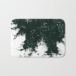 Pine snowflakes winter snow christmas green deep forest watercolor Bath Mat