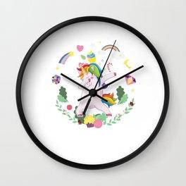 Unicorn Dab Magical Creature Colorful Fiction Fairytale Fantasy Horse Rainbow Gift Wall Clock