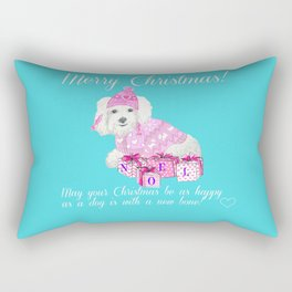 Bichon Frise pink christmas holiday themed pattern print pet friendly dog breed gifts Rectangular Pillow
