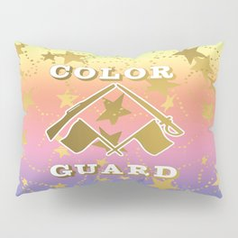 Color Guard Rainbow and Gold Stars Design Pillow Sham