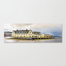 An Art Nouveau building at the Hurtigrut dock at the Port of Harstad, Norway. Tro Canvas Print