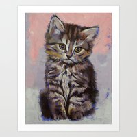 kitten Art Prints featuring Kitten by Michael Creese