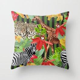 leopard, zebras, giraf and flowers Throw Pillow