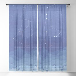 Orion Constellation, mountains Sheer Curtain