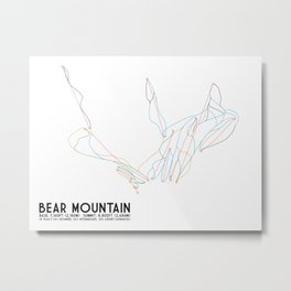 Bear Mountain, CA - Minimalist Trail Art Metal Print