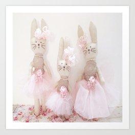 Bunnies Pretty in Pink Art Print