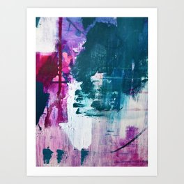 Complexity: a pretty abstract mixed-media piece in teal and purple by Alyssa Hamilton Art Art Print