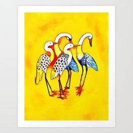 Vibrant Mystical Cranes Art Print