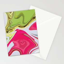 Liquid pink green lime marble soft texture background Stationery Cards