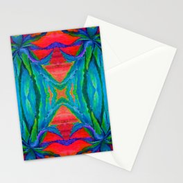 WESTERN MODERN ART OF BLUE AGAVES RED-TEAL Stationery Cards