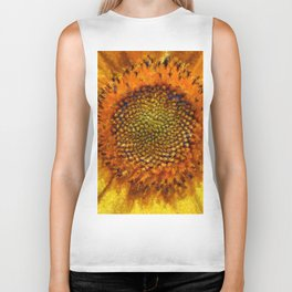 Sunflower and Seeds In Van Gogh Style Biker Tank