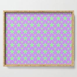 Green Star Pattern on Purple Serving Tray