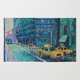 Rainy Day in New York - Palette Knife urban art city landscape by Adriana Dziuba Rug