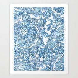 Blue Boho Paisley Pattern II Art Print