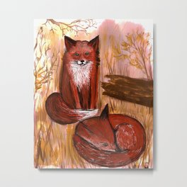 Brother Foxes Metal Print