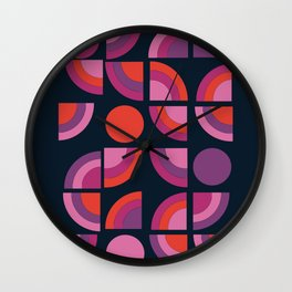 Outta Sight - 70s retro throwback trendy vintage style geometric 1970's Wall Clock