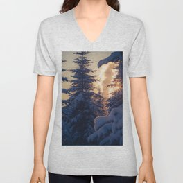 Midday sun on snow covered winter spruce trees Unisex V-Neck