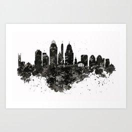 Cincinnati Skyline Black and White Art Print