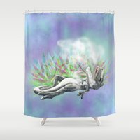 trex Shower Curtains featuring weed trex by raulovsky (Raúl Ramos Melo)