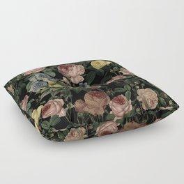 Vintage Roses and Iris Pattern - Dark Dreams Floor Pillow