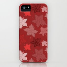 Maple Leaves - Bordeaux iPhone Case